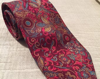 Rich Red and Blue Mystic Garden Floral Vintage BALLY Silk Long Necktie