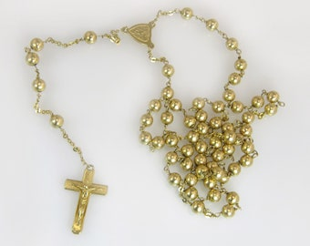 Vintage Estate 14k Yellow Gold Five Decade Rosary Cross 37.6 grams