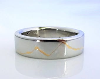 Gold Inlay Mountain Ring, 6mm band, Handmade with Platinum & 22k Gold inlay or Palladium with 18k Gold Inlay, Platinum Wedding band
