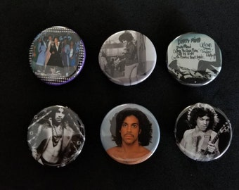 Prince 70s, 80s, buttons, badges 6-pack