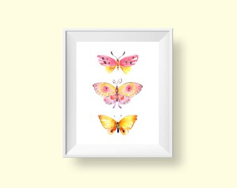 Butterfly Wall Art, Girls Pink & Yellow Watercolor Butterflies Printable Room Decor 8x10 Baby Shower Gift Instant Download