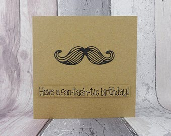 Moustache birthday card, Handmade handlebar mustache pun card, Funny birthday card for him, Tash colour choice, Happy Father's Day card