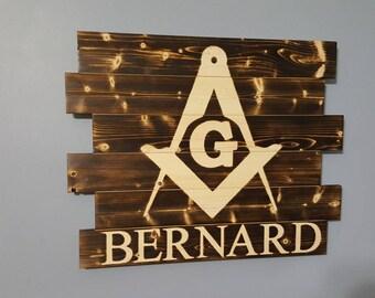 Masonic Logo Freemasons Wooden Rustic Wall Art Man Gift