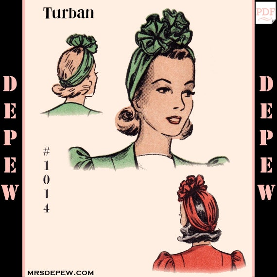 1940s Sewing Patterns – Dresses, Overalls, Lingerie etc 1940s Turban Rosette Hat One Size #1014 -INSTANT DOWNLOAD-Vintage Sewing Pattern 1940s Turban Rosette Hat One Size #1014 -INSTANT DOWNLOAD- $5.00 AT vintagedancer.com