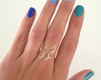 Unique Floating Music Note, Wrap Around Adjustable Ring, in Silver Gold Copper Pink Rose and Aqua