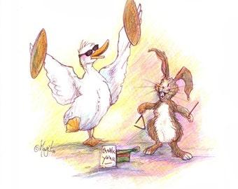 Busking Fun Goose and Hare Watercolour Pencil Drawing - Animal Art - Nursery Wall Art Print – Manchester Artist – Cute Art