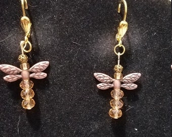 Bronze Dragonfly and Amber Crystal Bead Dangle Earrings, on Gold Plated Lever Back Findings;  Christmas Sale!