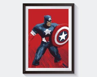 Captain America Avengers Original Art, Marvel Studios Poster Print Wall Art, Digital Download High Quality Poster For Wall Decor
