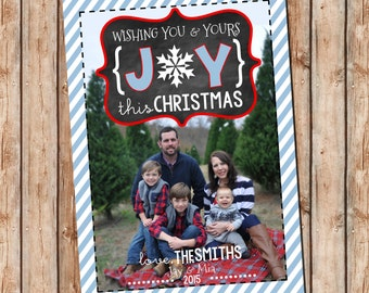 Photo Christmas Card | JOY Chalkboard | Photo Holiday Card | Digital Christmas Card {P6}