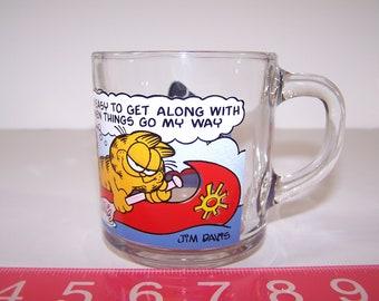 1978 Garfield Odie Cat Characters Glass Mug Cup McDonalds