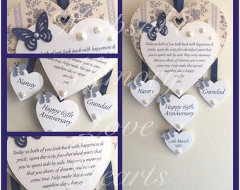 65th Sapphire anniversary gift personalised wooden keespake heart