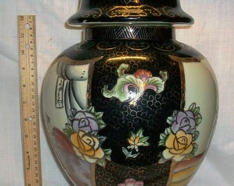 Listing 285 is a Handpainted Made in China Very Large Vase with lid