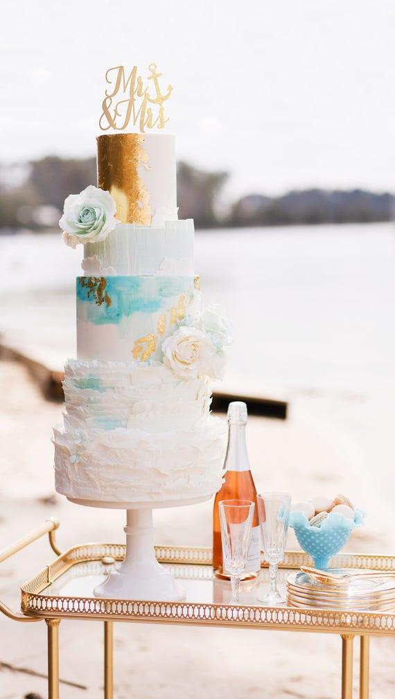 Nautical Mr and Mrs, Nautical Mr and Mrs Cake Topper, Nautical Wedding Cake Topper, Mr & Mrs Cake Topper, Beach Cake Topper