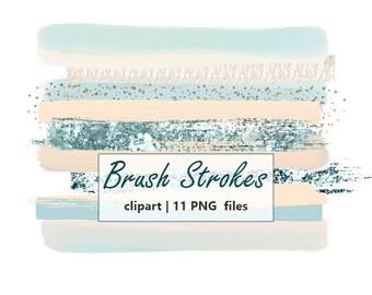 Sale pastel Brush Strokes Clipart Hand painted Mint Brush Stroke clip art watercolor Brush Logo Clipart Digital Design Commercial use