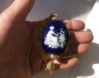 """Cobalt blue white lady Scent pendant necklace scent bottle with stopper 24"""" L gold tone double chain Lord Nelson Pottery Staffordshire Eng"""