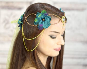 Peacock Color Elven Crown, Fairy Crown, Flower Crown, Costume Headpiece,  Costume Headdress, Elven Tiara, Woodland, Cosplay Headpiece