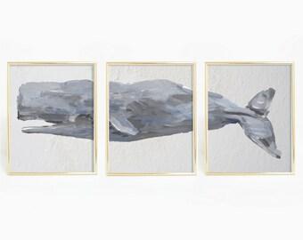 Nautical Decor, Sperm Whale Print, Whale Art, Whale Decor, Nautical Art Print, Beach Print Set, Set of Prints, Whale Triptych, Bathroom Art