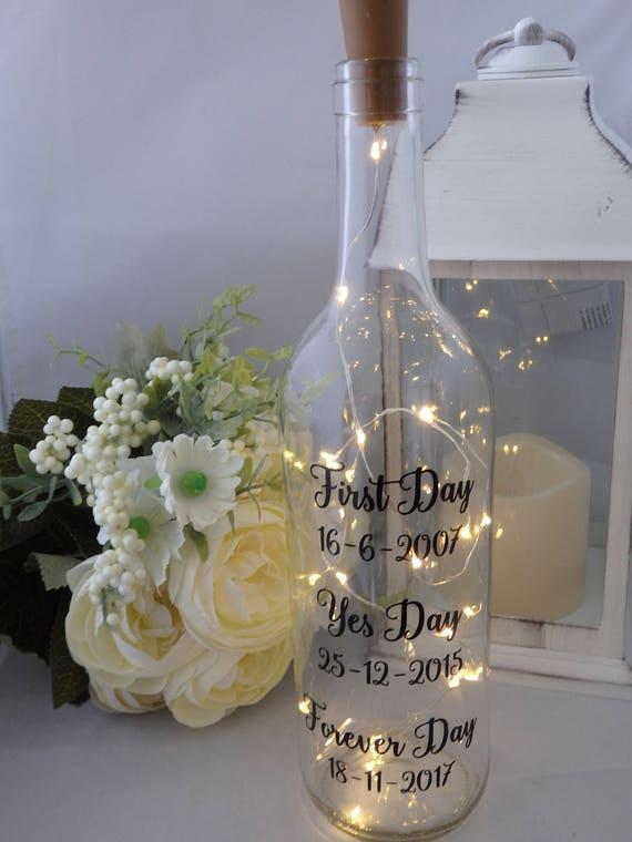 Personalised Wedding day gift fairy lights bottle wine light