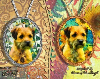 Border Terrier Jewelry Pendant - Brooch Handcrafted Porcelain by Nobility Dogs - Gustav Klimt and Van Gogh
