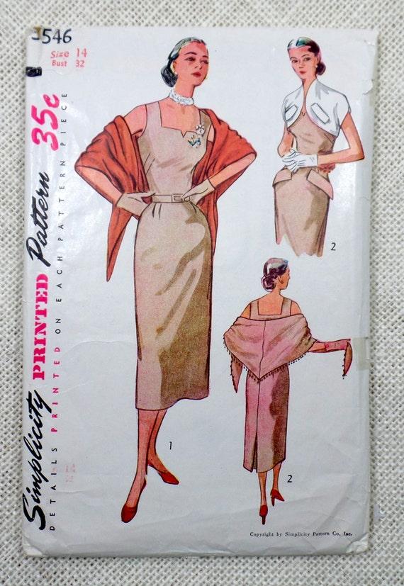 Vintage Nähen Schnittmuster Simplicity 3546 1950s Kleid 1951