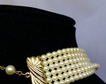 Trifari Faux Pearl Choker, 6 Strand Necklace, Vintage Women's Costume Jewelry, Bride Wedding