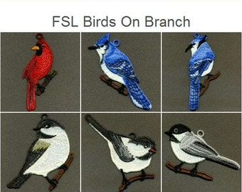 FSL Birds On Branch Free Standing Lace Machine Embroidery Designs Instant Download 4x4 hoop 12 designs APE2068