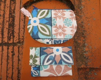 Coin and rack cards, cement tiles pattern in thick, washable cotton machine, gift idea for woman, hand bag case