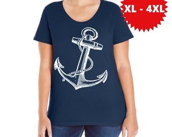 Plus Size Anchor Shirts Curvy Women's nautical shirt anchors gift XL 2XL 3XL 4XL Clothing Beachwear Summer tops