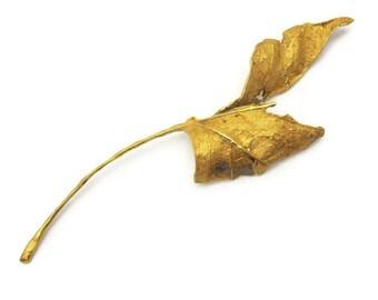 John Iversen Leaf Brooch - Gold Vermeil One of a Kind, OOAK, Vintage Designer Jewelry