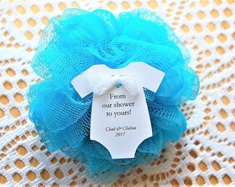 """10 tags ~ Baby Shower ~ Sprinkle ~ Party Favor ~ Girl or Boy Gift Tags ~ From my shower ~ From our shower to yours ~ loofah ~ pouf ~ 2 1/2"""""""