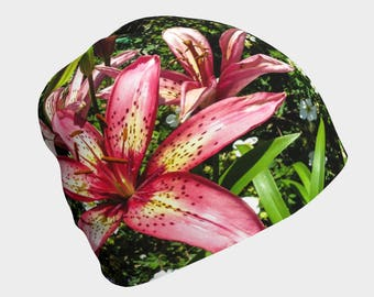 Pink Tiger Lilies Beanie