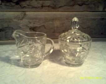 Vintage Pressed Glass Sugar and Creamer with Starburst Pattern