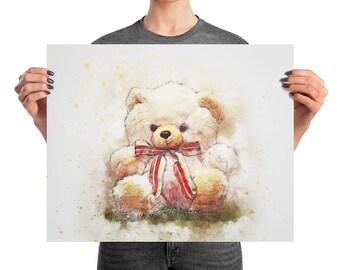 Teddy Bear Nursery Print, Teddy Bear Print, Nursery Wall Art, Children's Bedroom Print, Teddy Bear Art, Teddy Bear Wall Art