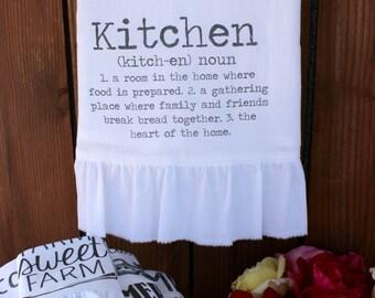 Farmhouse Cottage, Shabby Chic, Kitchen Decor, Tea Towel, FLour Sack Towel, Ruffle (kitch def)