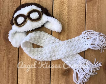 Newborn aviator hat and scarf set, crochet photo prop, newborn photography, baby pilot set