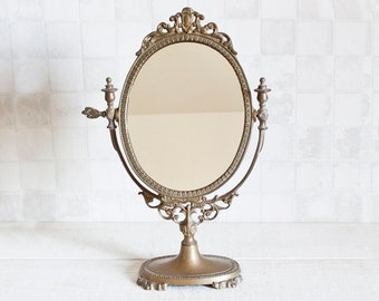 Vintage French Oval Brass Standing Mirror || Pivoting Oval Bronze Psyche - Brass Oval Pedestal Adjustable Vanity Mirror