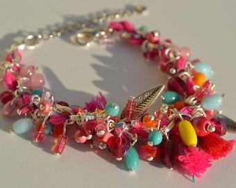 Bracelet Bohemian beads and Swarovsky Crystal tassels.
