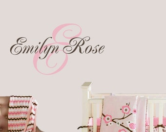 Childrens Wall Decal Baby Nursery - Personalized Monogram - Nursery Name Decal