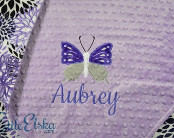 Personalized Baby Blanket, Minky Blanket, Personalized Butterfly Blanket, Baby Blanket, Choose Your Colors, Choose Your Size.