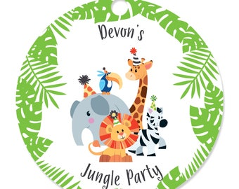 Jungle Party Animals - Party Tags - Craft Tags for a Baby Shower or Birthday Party - Safari Zoo Animals Party Tags - Jungle Party - 20 Ct