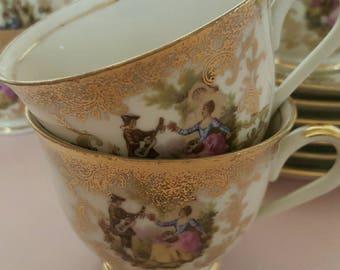 6 tea cups and saucers victorian fragonard gold painted german porcelain high tea scène