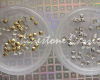 3mm square gold studs, 3mm silver square studs, nail studs, nail art, 3D nail art, nail decoration, 3mm square nail studs