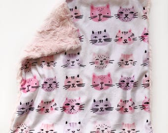 Kitty cat  lovey security blanket, pink cats, cats, minky, kitties cats nursery, girl baby shower gift, toddler securit