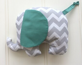 Baby Elephant Plush Toy in Mint & Grey