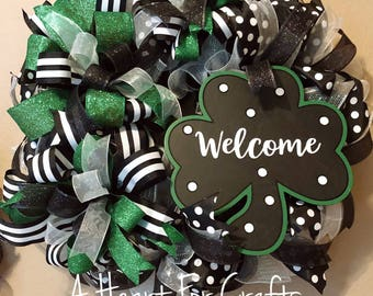 St Patricks Day Wreath, Welcome St. Patricks Day Wreath, Deco Mesh Welcome St. Payricks Day Wreath, Home Decor Welcome Wreath