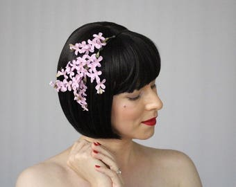 "Lilac Headband for Adult, Flower Hair Band for Women, Pink Floral Fascinator, 1950s Spring Headpiece, Vintage Wedding - ""Perfumed Dreams"""