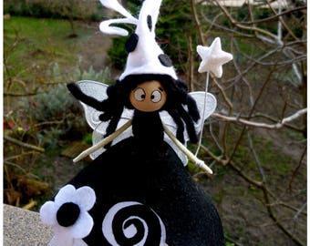 Fairy / fantasy Figurine/Elf / fairy, funny black and white/customizable/lucky charm