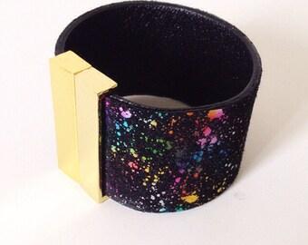 black multicolored leathercuff