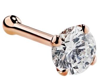 2.5mm (0.06 ct. tw) Diamond Nose Stud 14K Rose Gold Nose Ring Bone