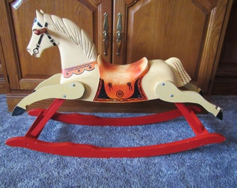 Rich Toys Childs ROCKING HORSE  ** Wood rockers & legs with Plastic body ** mid century ride on toy